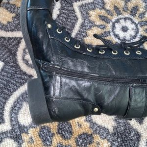 G by Guess Shoes - G By Guess | Black & Gold Combat Boot